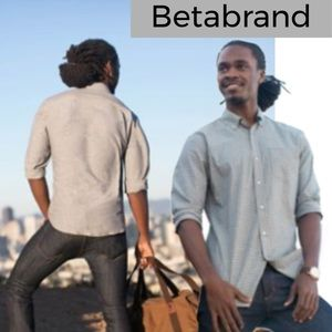 Betabrand charcoal white window pain button down
